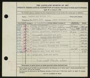 Entry card for Potter and Mellen , and Dellert, Norman; Weiser, Raymond T.; Gast, Frederick; Lutkenhouse, Daniel; Potter, Horace Ephraim; Naukler, Henning for the 1941 May Show.