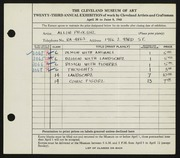 Entry card for Proctor, Allen for the 1941 May Show.