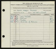 Entry card for Prusheck, Harvey Gregory for the 1941 May Show.