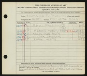 Entry card for Purwin, Sigmund Frank for the 1941 May Show.