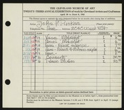Entry card for Puskas, John F. for the 1941 May Show.