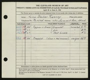 Entry card for Ranney, Helen Stecher for the 1941 May Show.