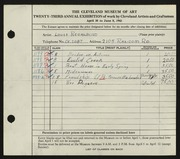 Entry card for Regalbuto, Louis A. for the 1941 May Show.