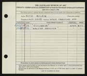 Entry card for Rosen, Rose for the 1941 May Show.