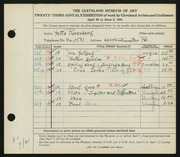 Entry card for Rosenberg, Yetta for the 1941 May Show.