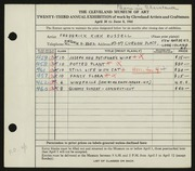 Entry card for Russell, Frederick K. for the 1941 May Show.