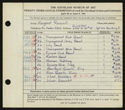 Entry card for Russell, Margaret for the 1941 May Show.