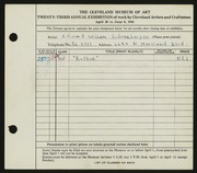 Entry card for Schoenberger, Edward William for the 1941 May Show.