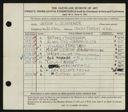 Entry card for Schoener, Jason for the 1941 May Show.