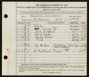 Entry card for Scrivens, Emilie for the 1941 May Show.