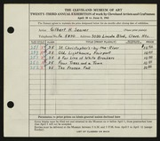 Entry card for Seaver, Gilbert H. for the 1941 May Show.