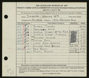 Entry card for Segner, Wesley William for the 1941 May Show.