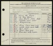 Entry card for Seliskar, Richard T. for the 1941 May Show.