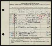 Entry card for Shaw, Elsa Vick for the 1941 May Show.