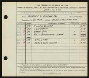 Entry card for Sietman, Herbert E., Jr. for the 1941 May Show.