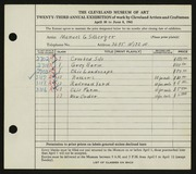 Entry card for Silberger, Manuel G. for the 1941 May Show.