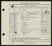 Entry card for Simon, Ann for the 1941 May Show.