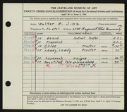 Entry card for Sinz, Walter A. for the 1941 May Show.