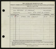 Entry card for Smeraldi, Anthony Mario for the 1941 May Show.