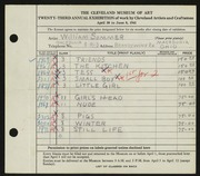 Entry card for Sommer, William for the 1941 May Show.