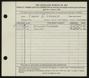 Entry card for Spence, Carrie for the 1941 May Show.
