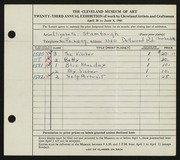 Entry card for Stambaugh, Elizabeth for the 1941 May Show.