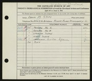 Entry card for Stitt, Edwin M. for the 1941 May Show.