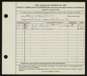 Entry card for Stitt, Mary McKee for the 1941 May Show.