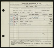 Entry card for Bamberg, Mary Stocking for the 1941 May Show.