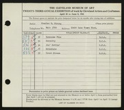 Entry card for Strong, Charles H. for the 1941 May Show.