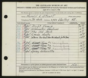 Entry card for Stuart, Harold L. for the 1941 May Show.