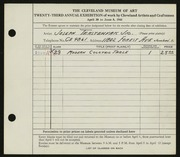 Entry card for Terstenyak, Joseph, Jr. for the 1941 May Show.