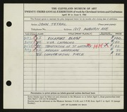 Entry card for Teyral, John for the 1941 May Show.