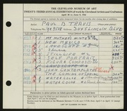 Entry card for Travis, Paul Bough for the 1941 May Show.