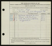 Entry card for Vago, Sandor for the 1941 May Show.