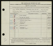 Entry card for Vaiksnoras, Anthony, and Cleveland School of Art for the 1941 May Show.