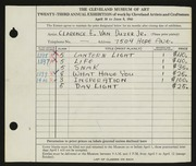 Entry card for Van Duzer, Clarence E. for the 1941 May Show.