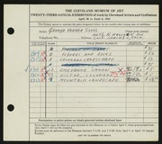 Entry card for Vander Sluis, George for the 1941 May Show.