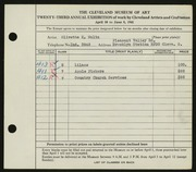 Entry card for Waltz, Olivette K. for the 1941 May Show.