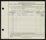 Entry card for Ward, William E. for the 1941 May Show.