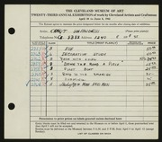 Entry card for Whitworth, Ernest for the 1941 May Show.