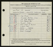 Entry card for Wideman, Carl B. for the 1941 May Show.