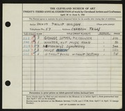 Entry card for Wilson, David Philip for the 1941 May Show.