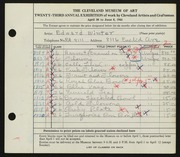 Entry card for Winter, H. Edward for the 1941 May Show.