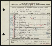 Entry card for Witt, Claire A. for the 1941 May Show.