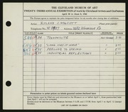 Entry card for Wolcott, Roland J. for the 1941 May Show.