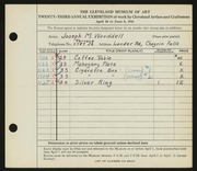 Entry card for Wooddell, Joseph M. for the 1941 May Show.