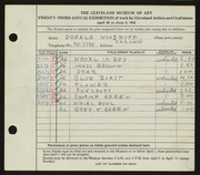 Entry card for Woodruff, Donald for the 1941 May Show.