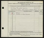 Entry card for Young, Alys Roysher for the 1941 May Show.