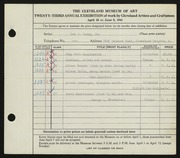 Entry card for Young, Don J., Jr. for the 1941 May Show.